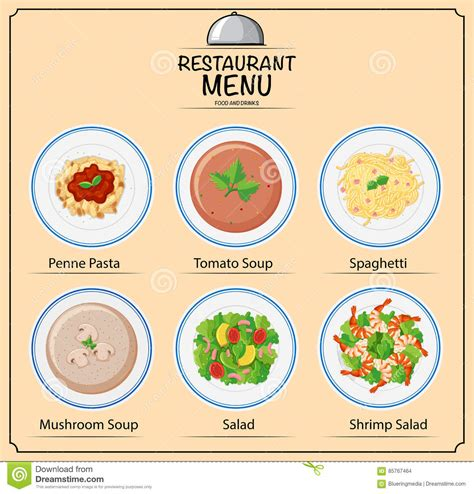 different types of dishes on menu stock vector image