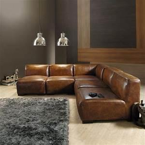 chauffeuse en cuir marron l 71 cm deco shop pinterest With meuble cuisine maison du monde 9 salon en cuir maisons du monde photo 315 exemple de