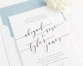 calligraphy wedding invitations in dusty blue wedding invitations - Calligraphy Wedding Invitations