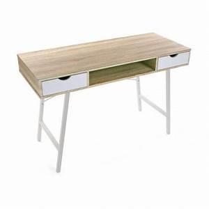 Bureau Scandinave Blanc : table de bureau scandinave bois et metal blanc versa ~ Teatrodelosmanantiales.com Idées de Décoration