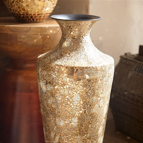 Gold And Silver Vase by Gold Silver Crackle Glass Mosaic Vase Goodglance