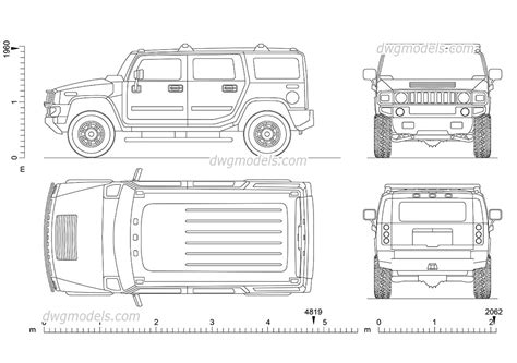 Hummer H2 (2002) Cad Drawings Download Free. Autocad Blocks