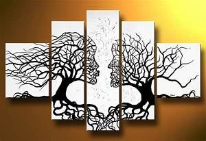 abstract painting tree wall art interior designs With kitchen colors with white cabinets with tree of life metal wall art decor