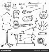 Sewing Tailor Coloring Vector Icons Illustration Element Isolated Shutterstock Lena Depositphotos sketch template