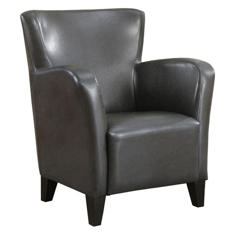 monarch specialties charcoal grey faux leather club chair