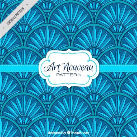 deco colours used nouveau floral pattern in blue color vector free