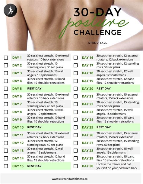 day posture challenge  images  day workout