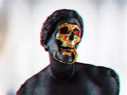 Skull Vaporwave Gold Statue Wallpapers Desktop Backgrounds