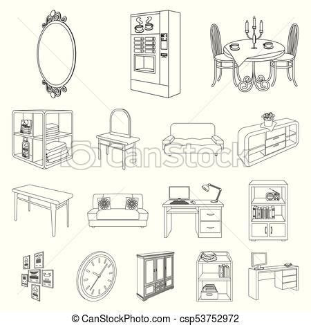 furniture  interior outline icons  set collection