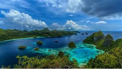 Indonesia Mountain Nature Tropical Landscape Sea Turquoise