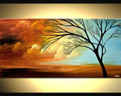 contemporary tree acrylic painting colorful landscape