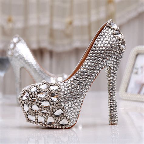 wedding shoes silver women high heel prom bridal wedding shoes platforms 1132