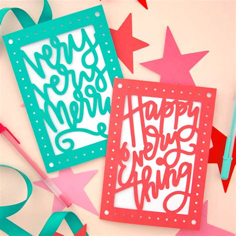 Each project includes a free svg. Paper Cut Christmas Card DIY - Free SVG Cut Files - Persia Lou