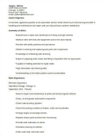 sample mechanic resume  examples  word