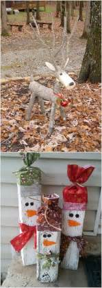 these wooden diy outdoor winter and christmas decorations are adorable i love the reindeer i
