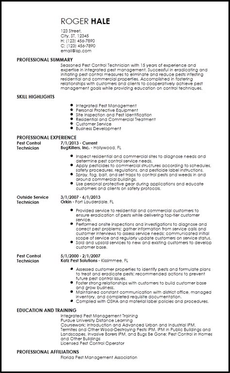 Pest Technician Resume Template by Pest Resume Templates Resume Templates 2017
