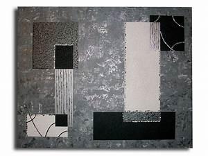Peinture Blanc Gris : tableau toile noir gris argent blanc art contemporain moderne abstrait collage toiles et ~ Nature-et-papiers.com Idées de Décoration