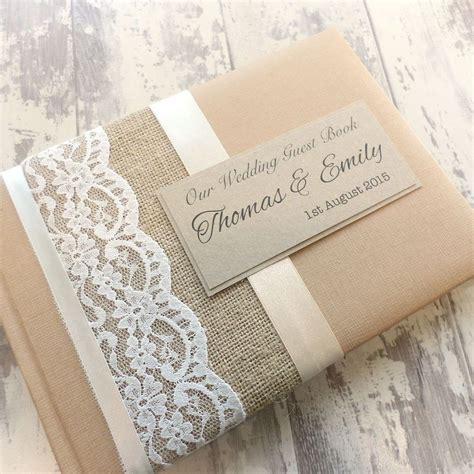 hessian burlap rustic personalised wedding guest book