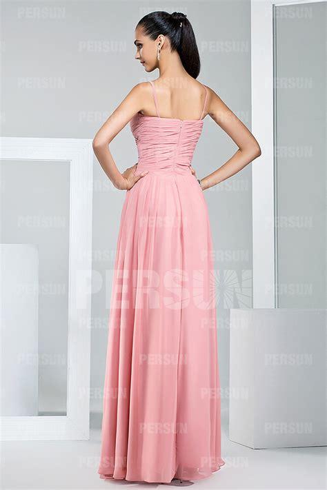 robe longue fluide pour demoiselle dhonneur en mousseline pastel persun fr