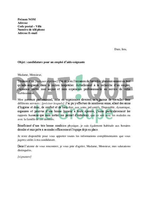 lettre de motivation aide soignante maison de retraite lettre de motivation pour un emploi d aide soignante pratique fr