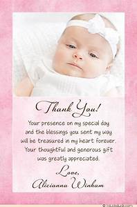 Christening baptism photo thank you card baby girl for Baptism thank you card template
