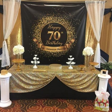 birthday party backdrop black  gold fifty