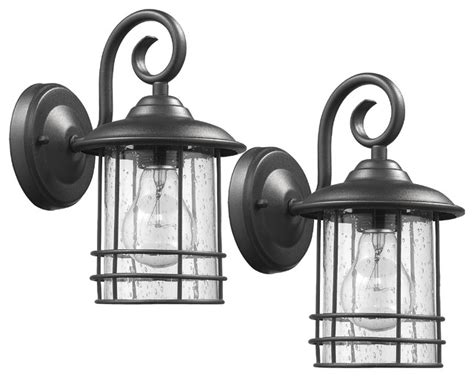 transitional 1 light outdoor wall sconces set of 2