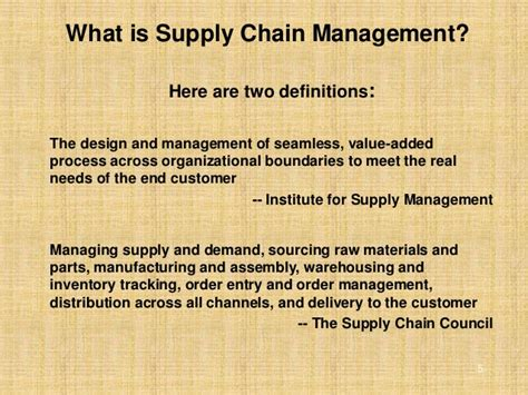 objectives  supply chain management