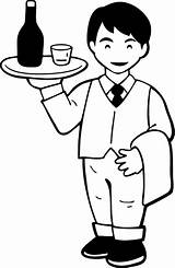 Waiter Waitress Coloring Template Pages Worker sketch template