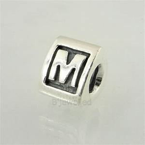 authentic pandora sterling silver letter m charm bead With pandora letter charms m