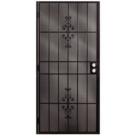 security doors lowes shop gatehouse ares black steel security door common 36