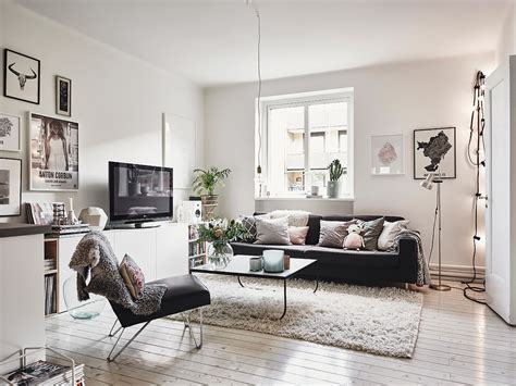 the living room salon scandinavian interior apartment with mix of gray tones