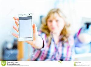 Girl Shows Screen Smartphone Stock Photo - Image: 41754870
