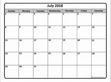 July 2018 Calendar Template monthly calendar 2017