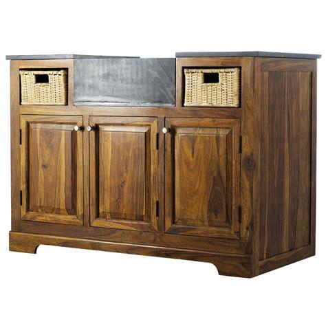 meuble de cuisine 120 cm meuble bas de cuisine en bois de sheesham massif l 120 cm luberon maisons du monde