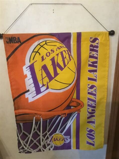 """Los Angeles Lakers Banner With Rod Wall Hanging 27.5"""" X 37 ..."""