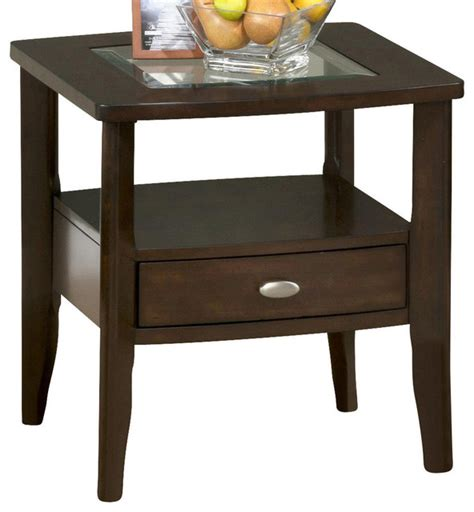 square coffee table with glass insert jofran 827 3 square end table with drawer and glass insert