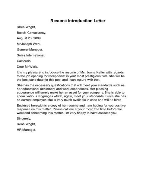 resume introduction letter sle edit fill sign