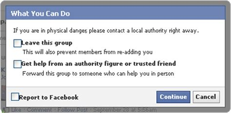reporting abuse  facebook group  page state