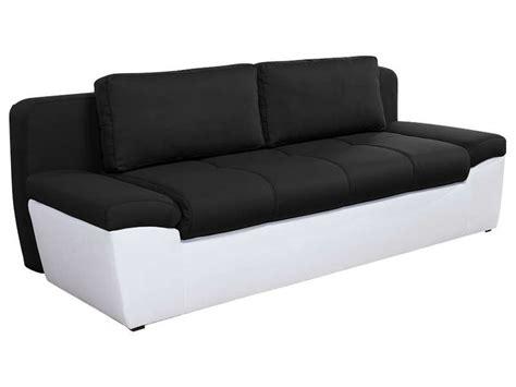 canapé convertible noir et blanc canapé convertible 3 places en tissu uno coloris blanc