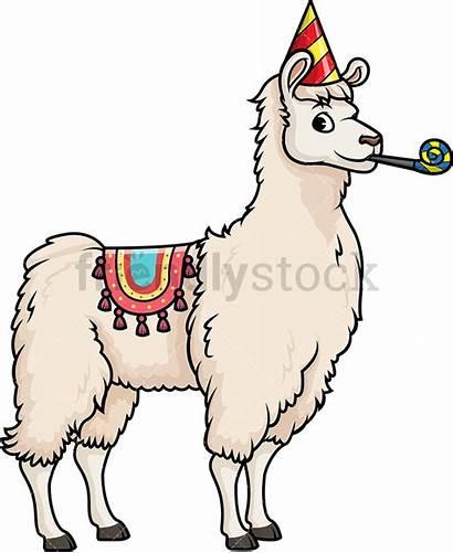Llama Party Cartoon Clipart Vector Rainbow Friendlystock
