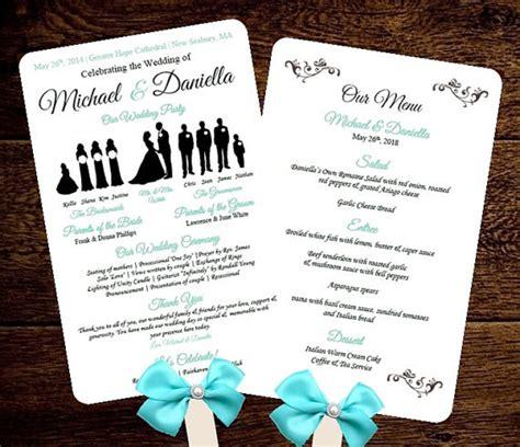Free Wedding Program Fan Templates by Diy Silhouette Wedding Fan Program W Menu Printable