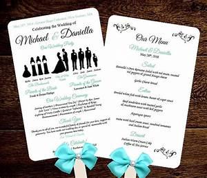 Diy silhouette wedding fan program w menu printable editable template free fonts choose for Wedding fan program template
