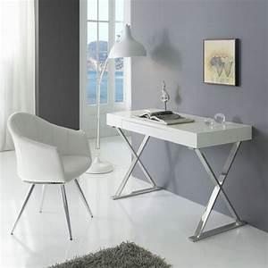 Bureau Contemporain Blanc Chrome Core Zendart Design