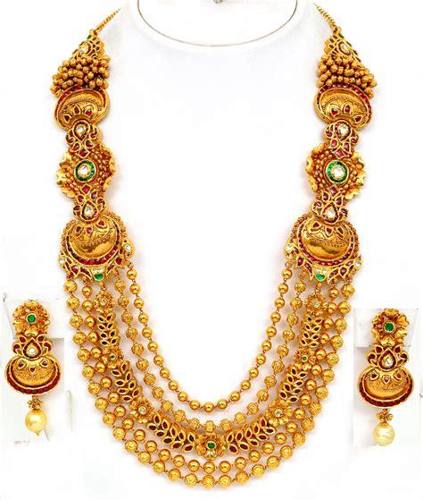 gold necklaces designs in dubai vbj gold necklace antique finish haram set pic 2