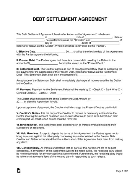 debt settlement agreement template sample word