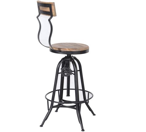 tabouret de bar pin massif fer 6953