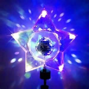 14 quot rotating retro mirror disco ball clear star christmas tree topper walmart com