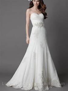 white strapless chapel train wedding dress with full a With white strapless wedding dress