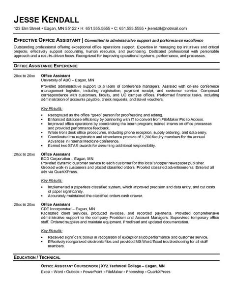 Office Assistant Resume Summary by Office Resume Exles Search Resume